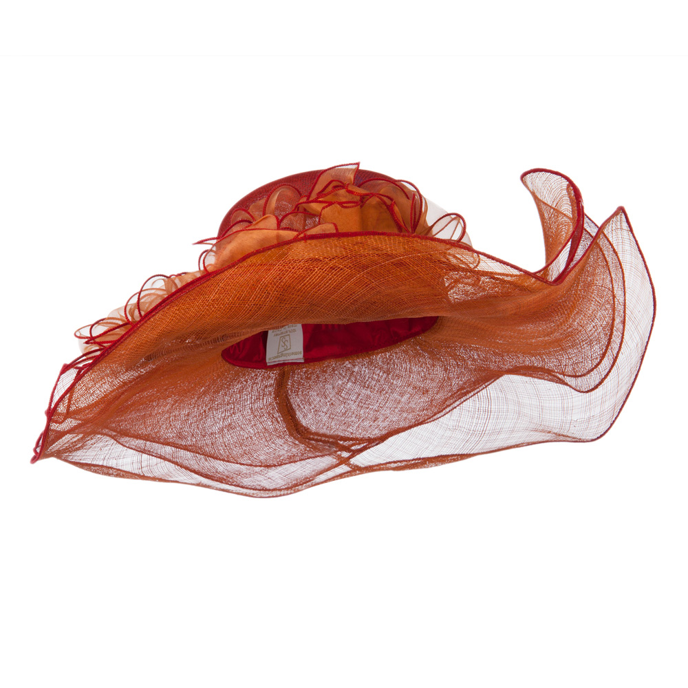 3 Layers Ruffled Brim Sinamay Hat - Red - Hats and Caps Online Shop - Hip Head Gear
