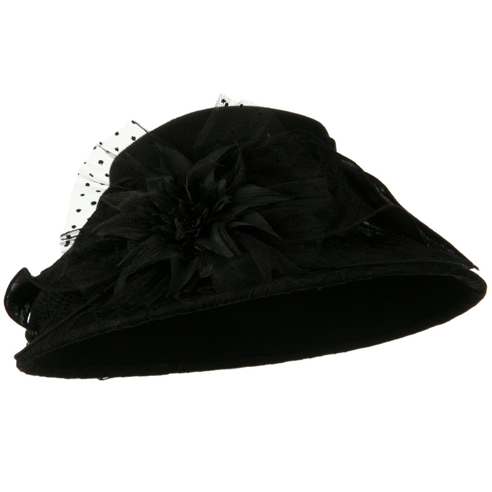 Lace Flower Ribbon Wool Felt Hat - Black - Hats and Caps Online Shop - Hip Head Gear