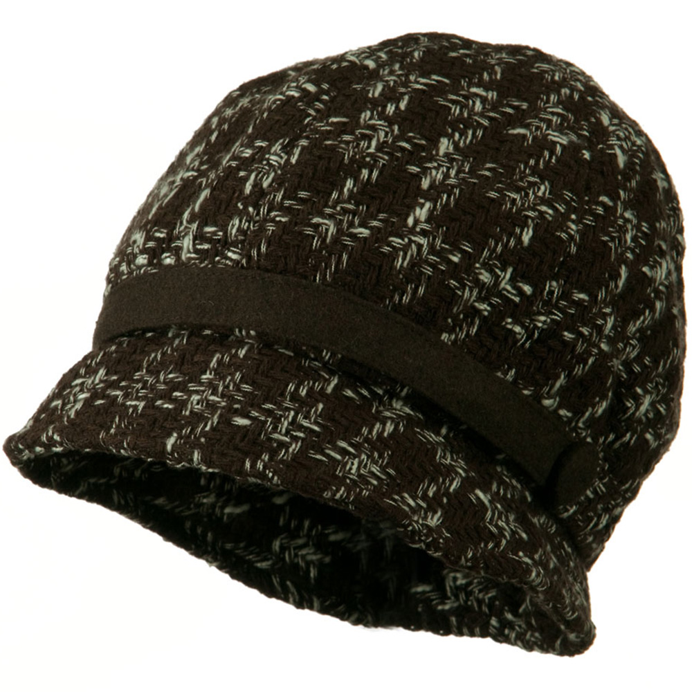 Lucy Wool Panel Cloche Hat - Brown White - Hats and Caps Online Shop - Hip Head Gear