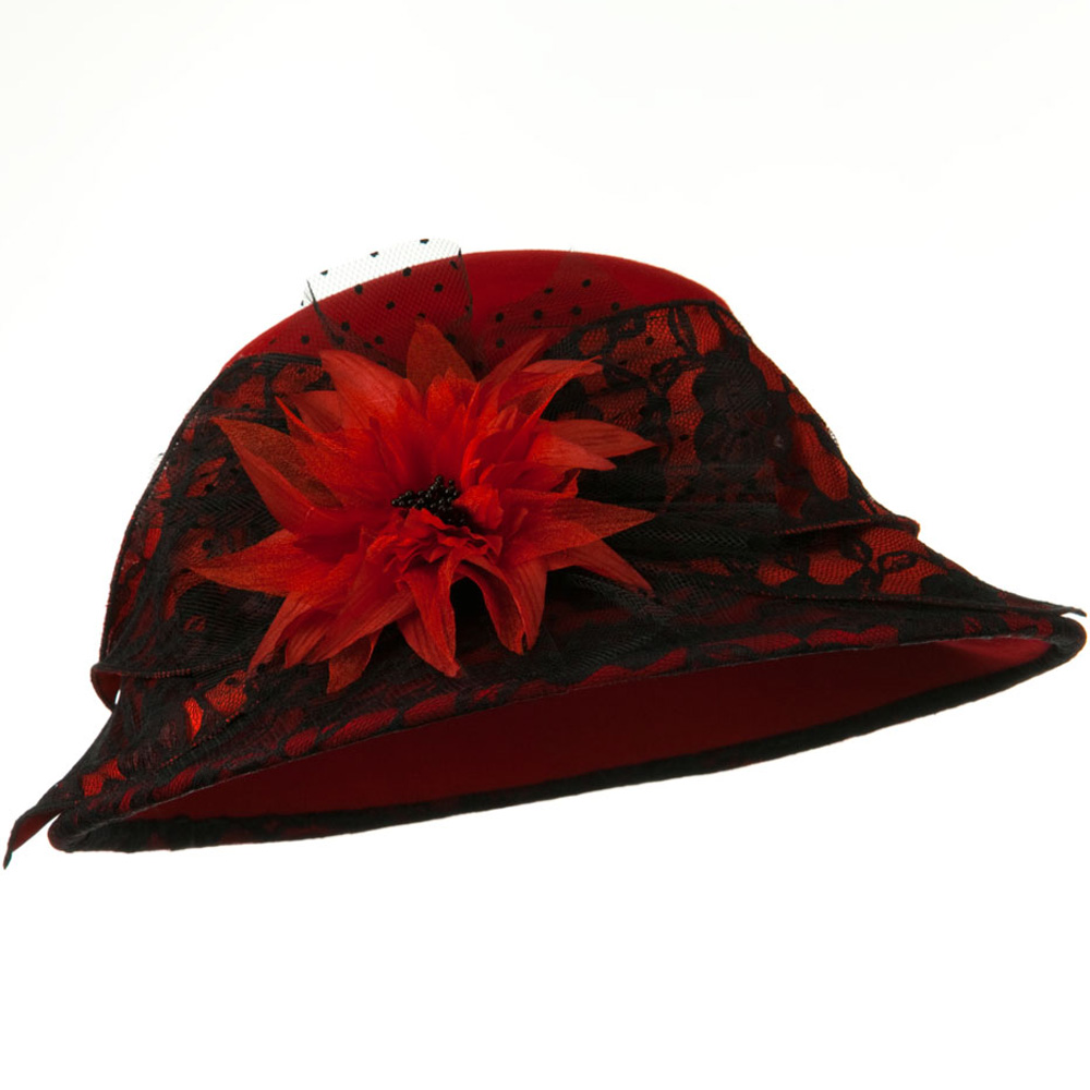 Lace Flower Ribbon Wool Felt Hat - Red - Hats and Caps Online Shop - Hip Head Gear