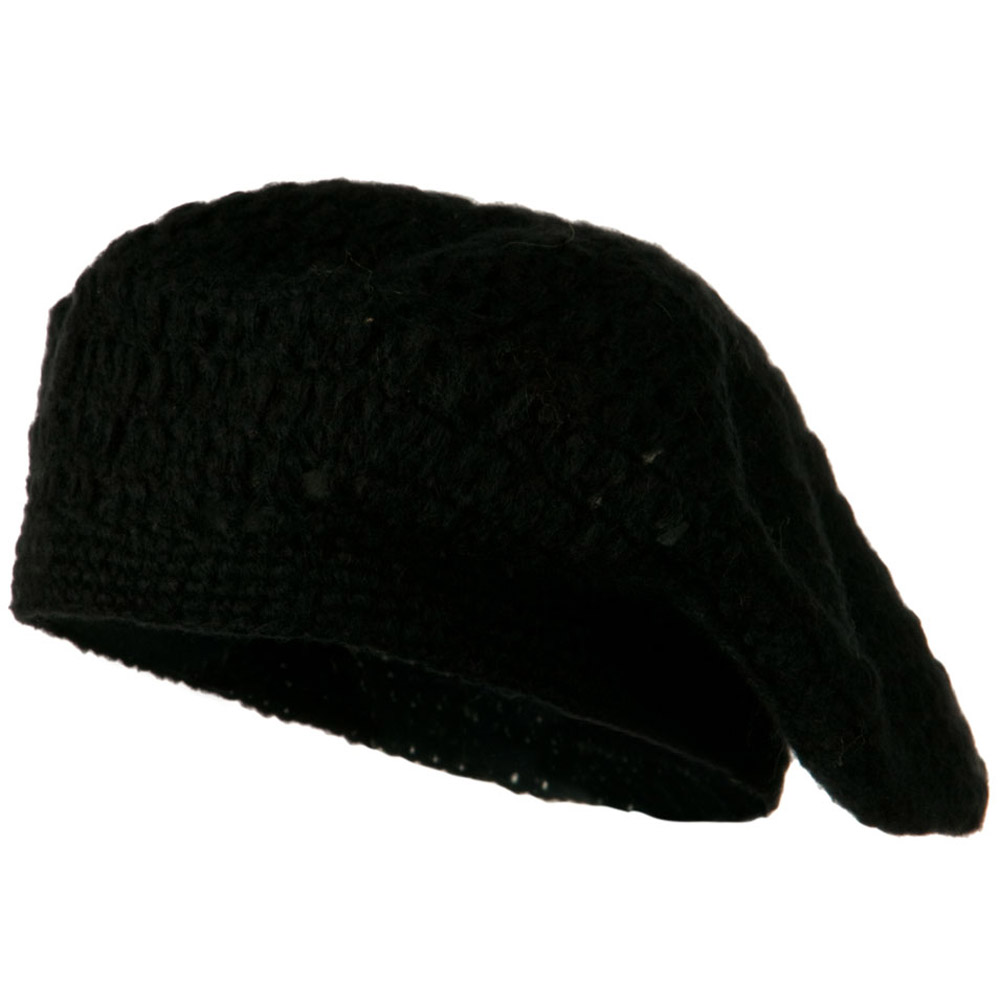 Mohair and Acrylic Knit Beret - Black - Hats and Caps Online Shop - Hip Head Gear