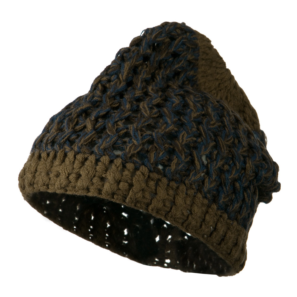 Man's Acrylic Multi Short Beanie - Brown Blue - Hats and Caps Online Shop - Hip Head Gear