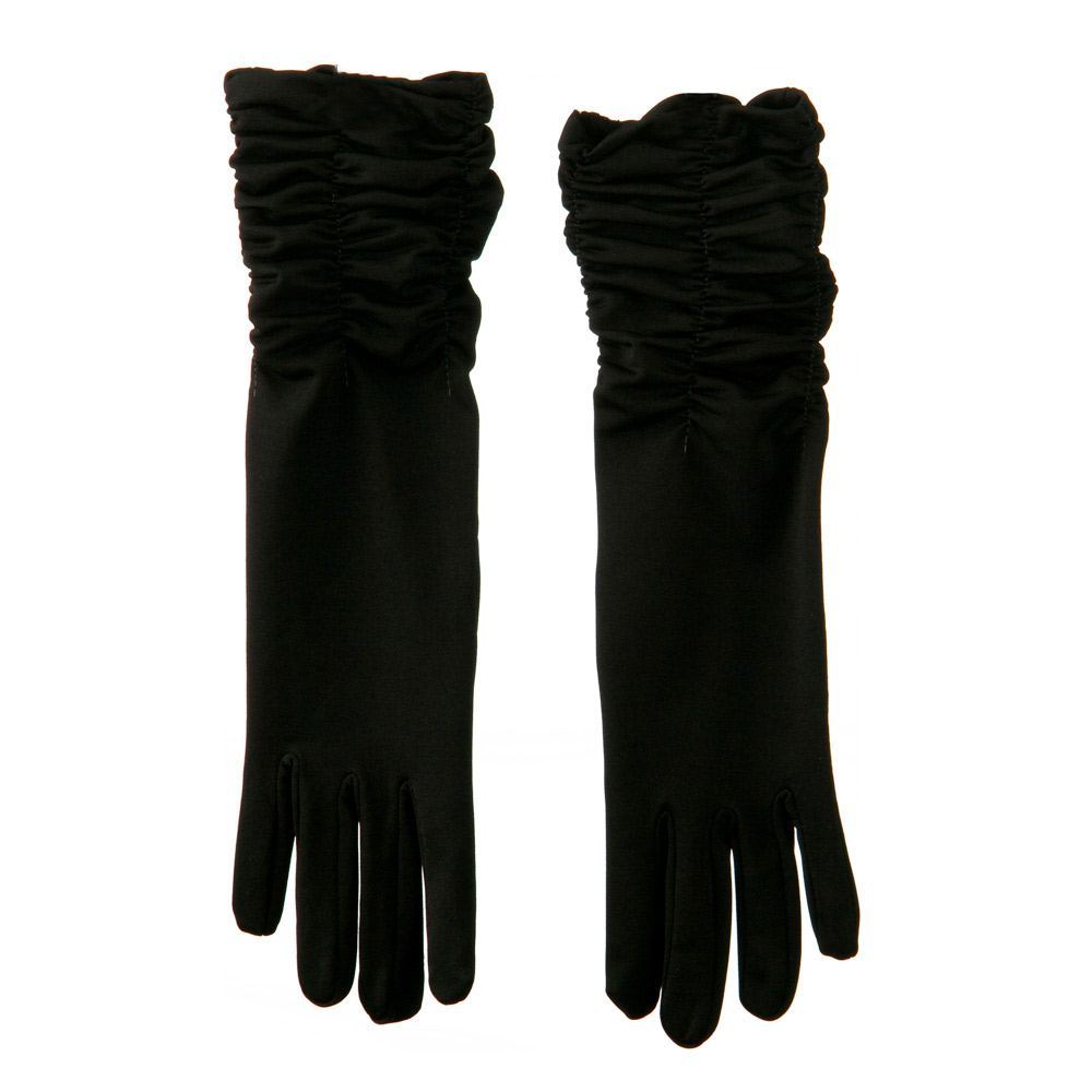 Mid Arm Length Shiny Glove - Black