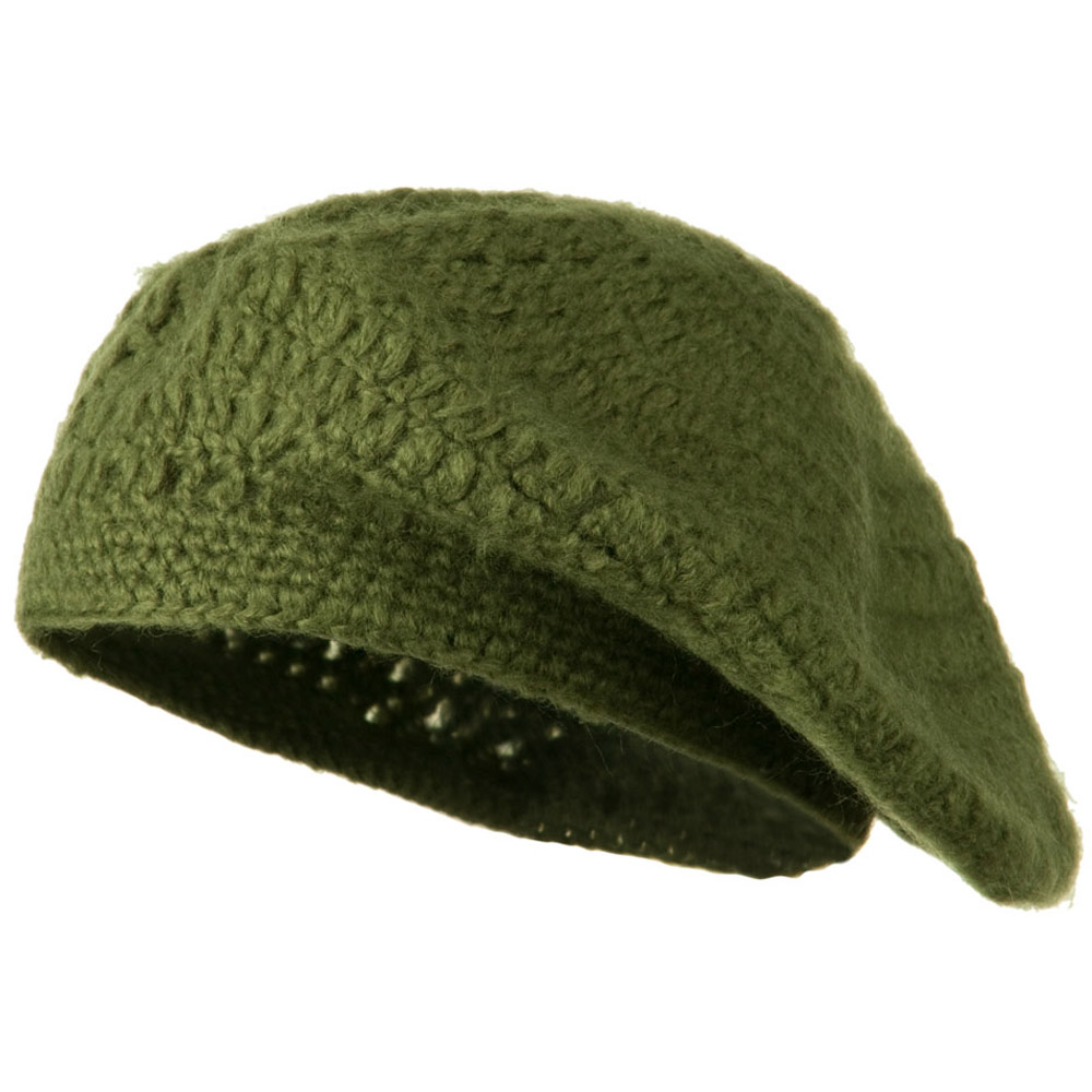 Mohair and Acrylic Knit Beret - Green - Hats and Caps Online Shop - Hip Head Gear