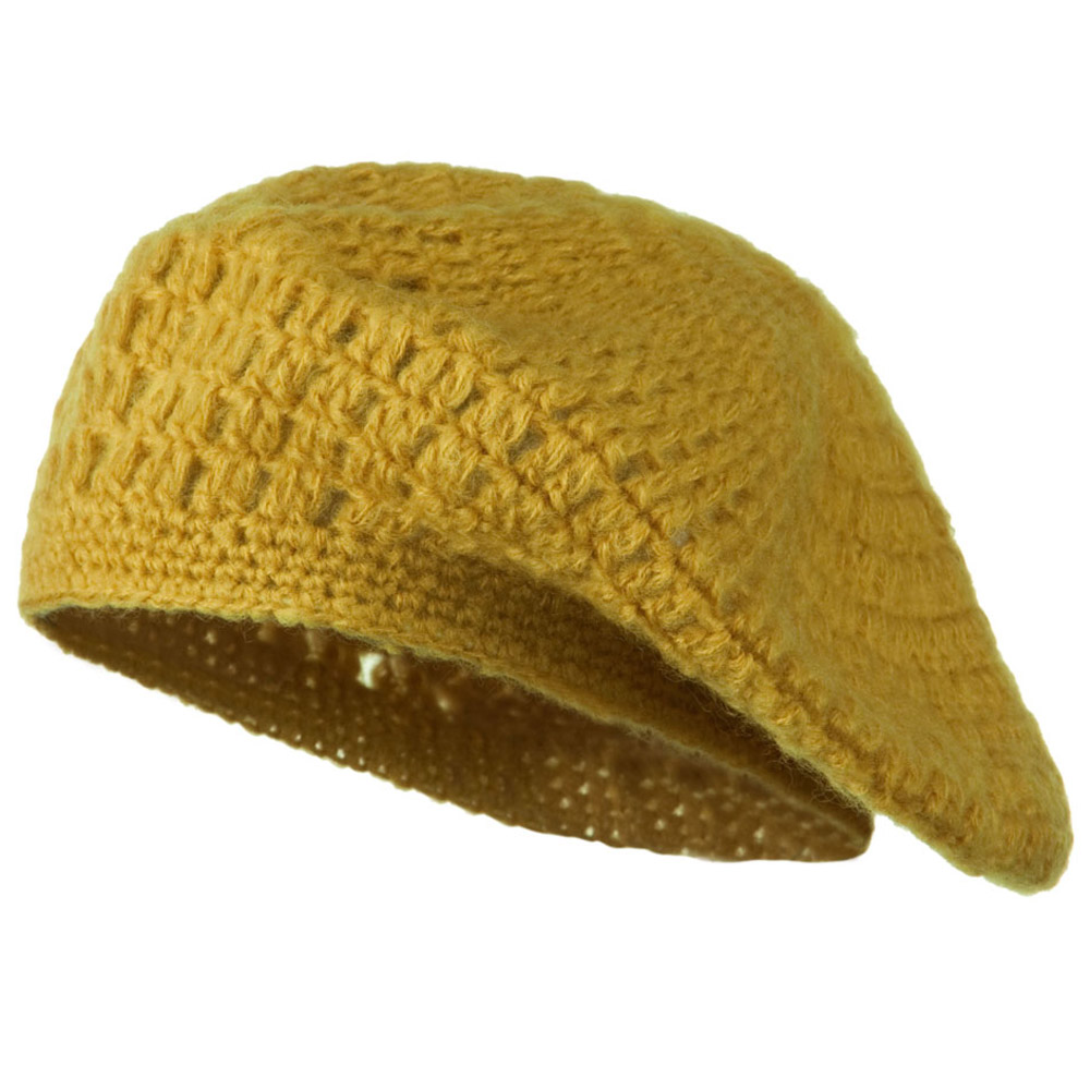 Mohair and Acrylic Knit Beret - Mustard - Hats and Caps Online Shop - Hip Head Gear