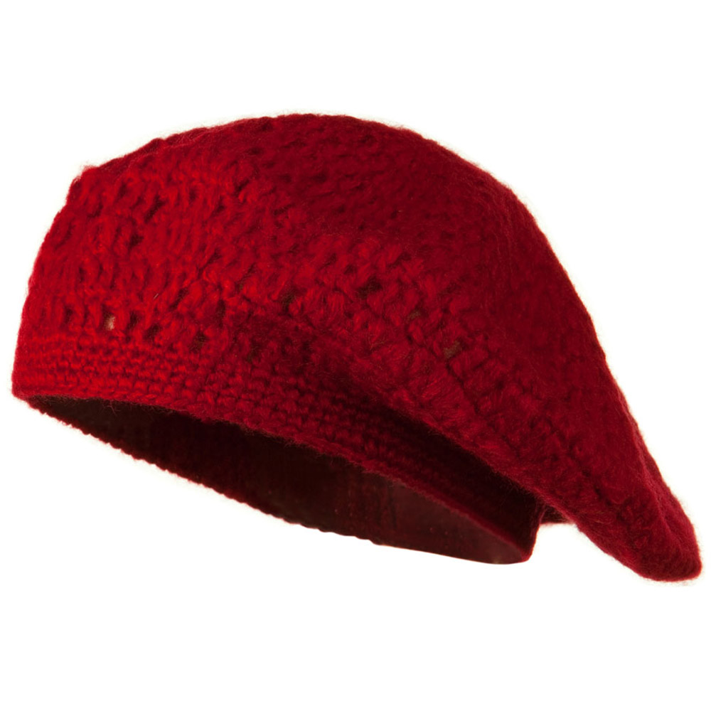Mohair and Acrylic Knit Beret - Red - Hats and Caps Online Shop - Hip Head Gear