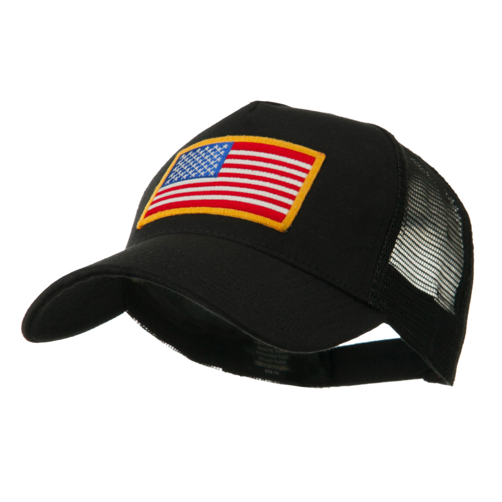 5 Panel Mesh American Flag Patch Cap - Black - Hats and Caps Online Shop - Hip Head Gear