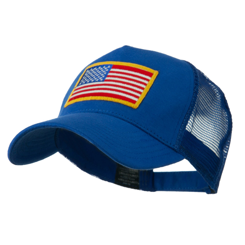 5 Panel Mesh American Flag Patch Cap - Royal - Hats and Caps Online Shop - Hip Head Gear
