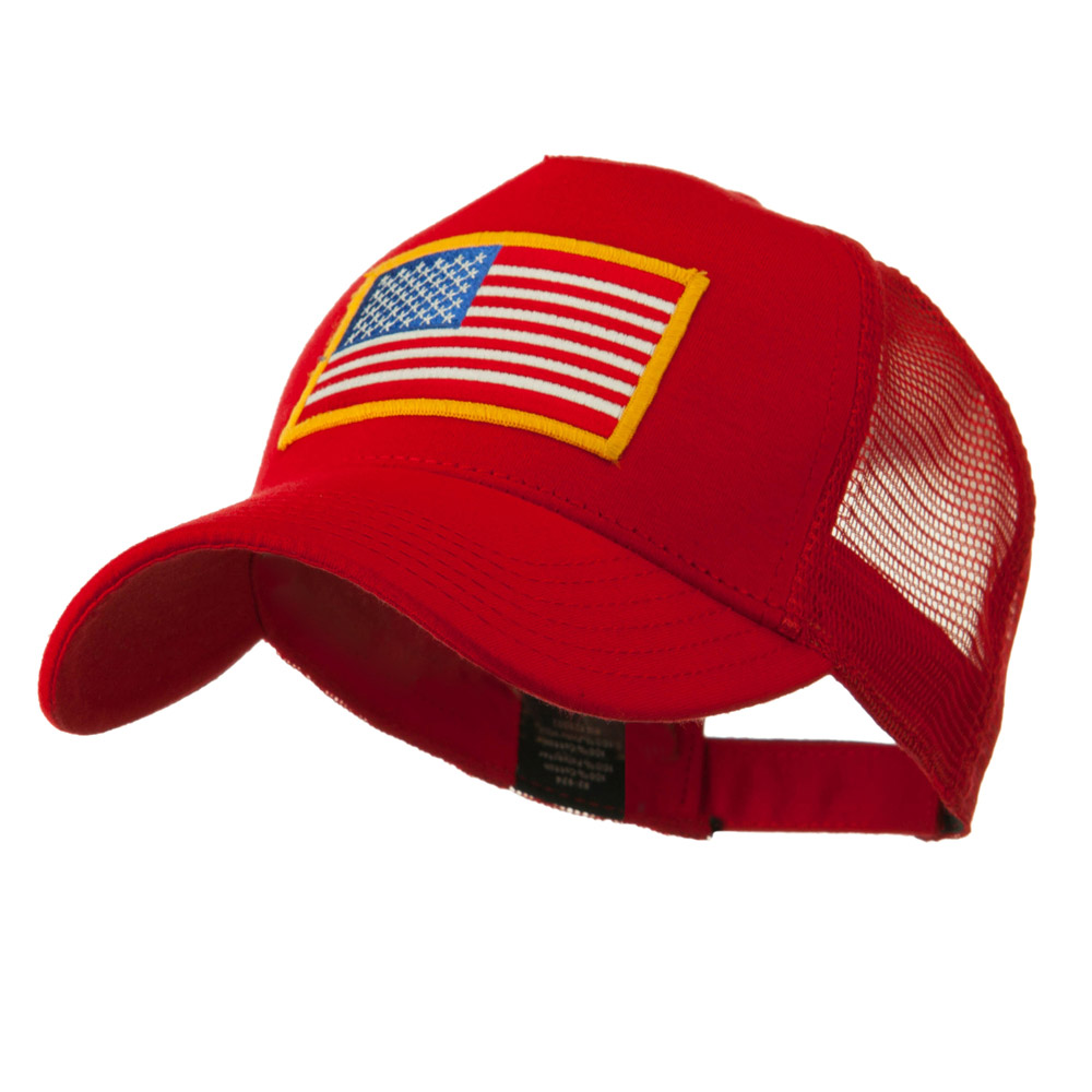 5 Panel Mesh American Flag Patch Cap - Red - Hats and Caps Online Shop - Hip Head Gear