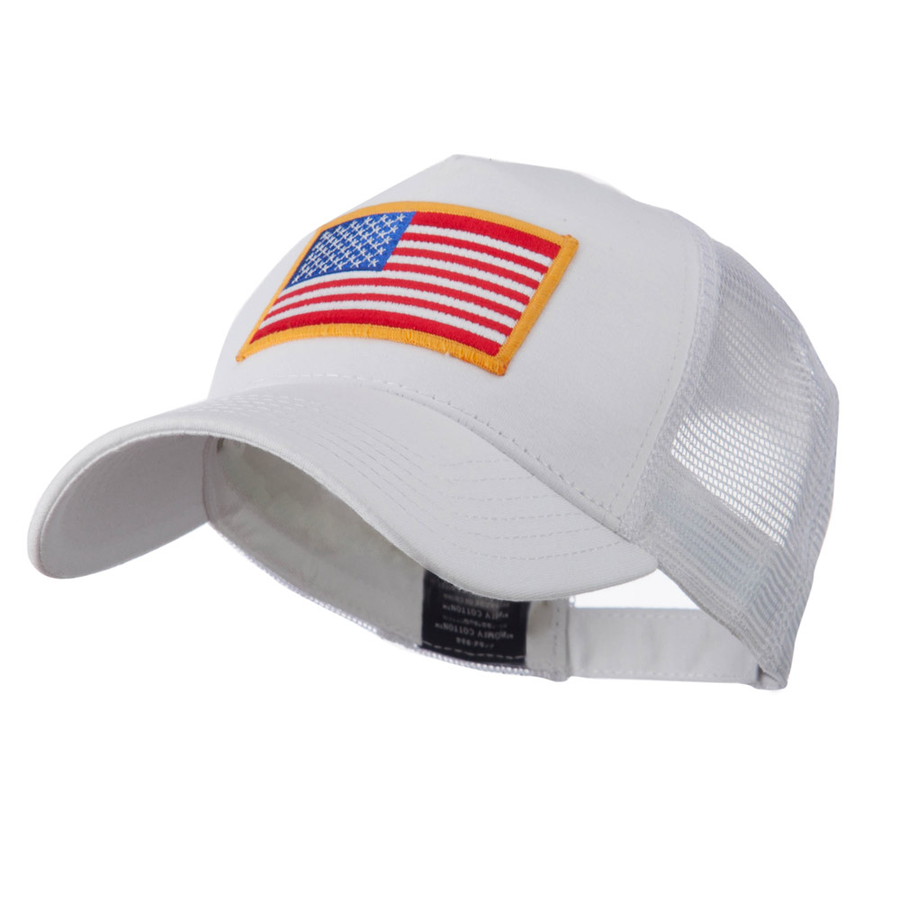3b285d0b1f3 5 Panel Mesh American Flag Patch Cap - White