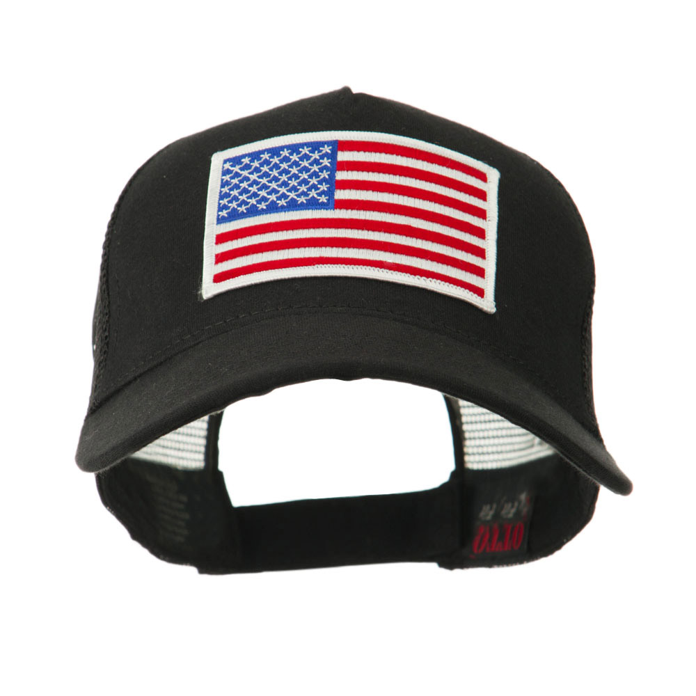df8c5e2b496 5 Panel Mesh American Flag Patch Cap - USA Flag