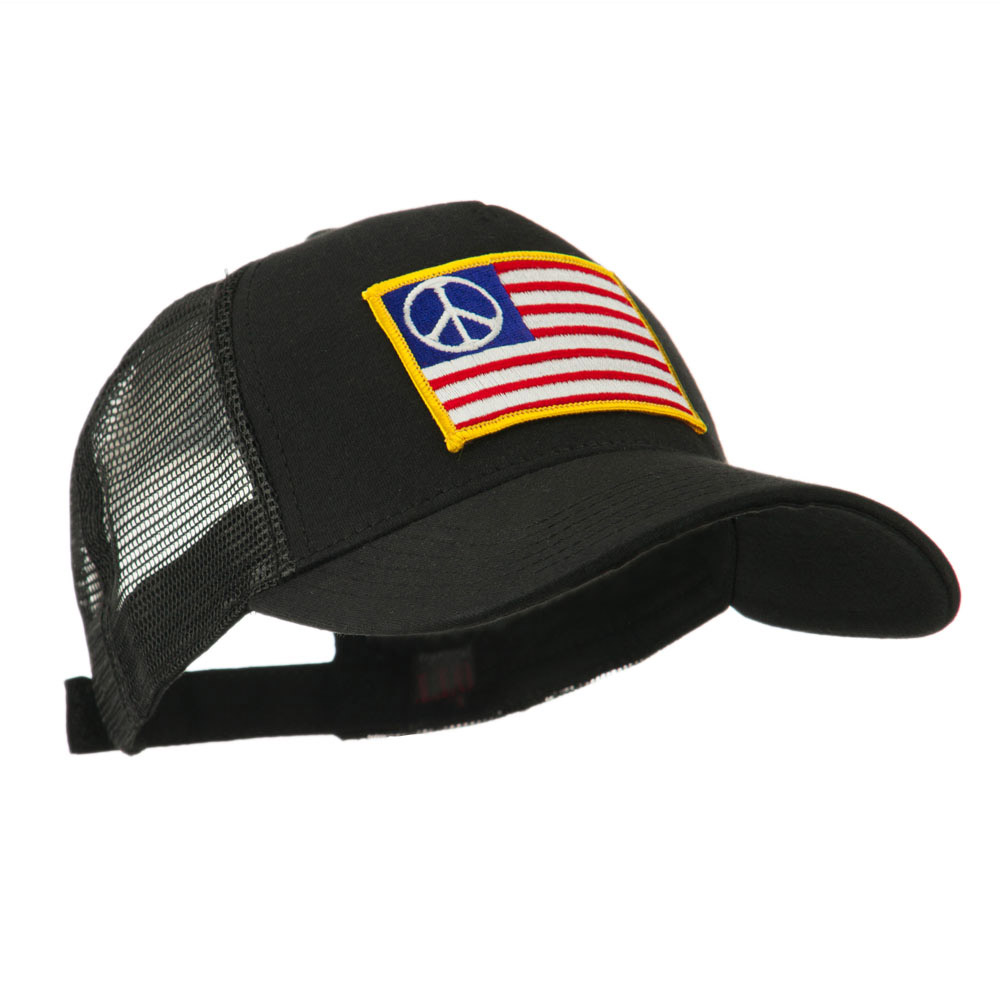 645afc79b46 5 Panel Mesh American Flag Patch Cap - Peace