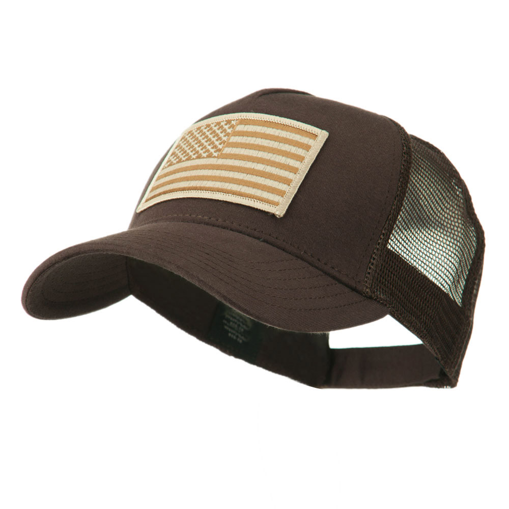 5 Panel Mesh American Flag Patch Cap - Brown - Hats and Caps Online Shop - Hip Head Gear