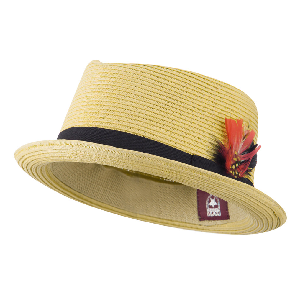 ML Feather Straw Braid Fedora Hat - Natural Brown - Hats and Caps Online Shop - Hip Head Gear