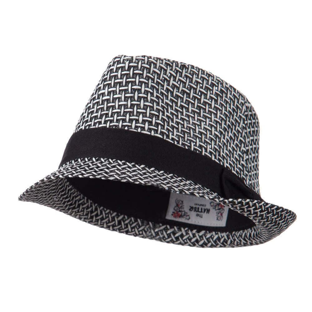 Multi Woven Straw Fedora with Band - Black - Hats and Caps Online Shop - Hip Head Gear