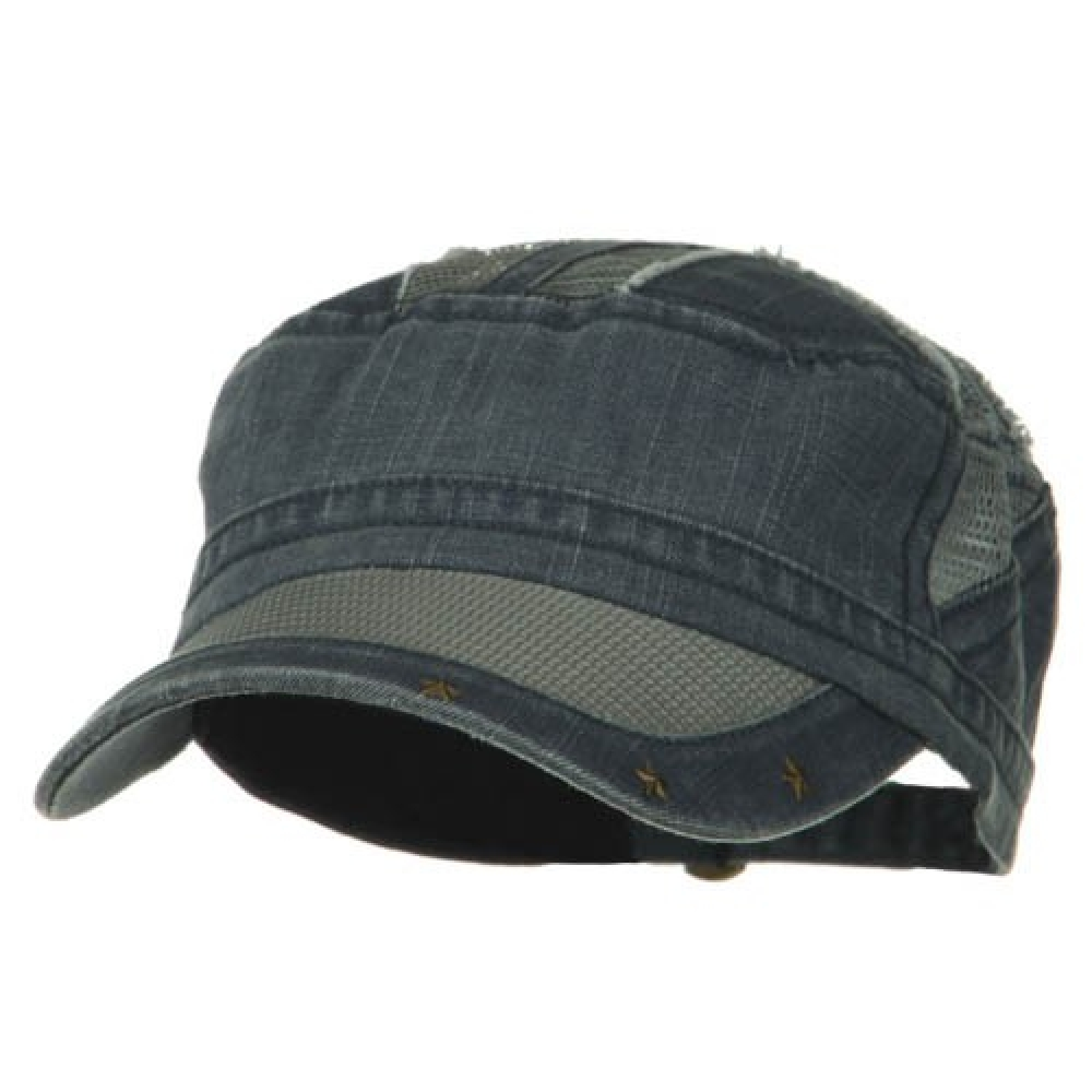 Heavy Washed Mesh Bill Army Cap - Slate Blue - Hats and Caps Online Shop - Hip Head Gear