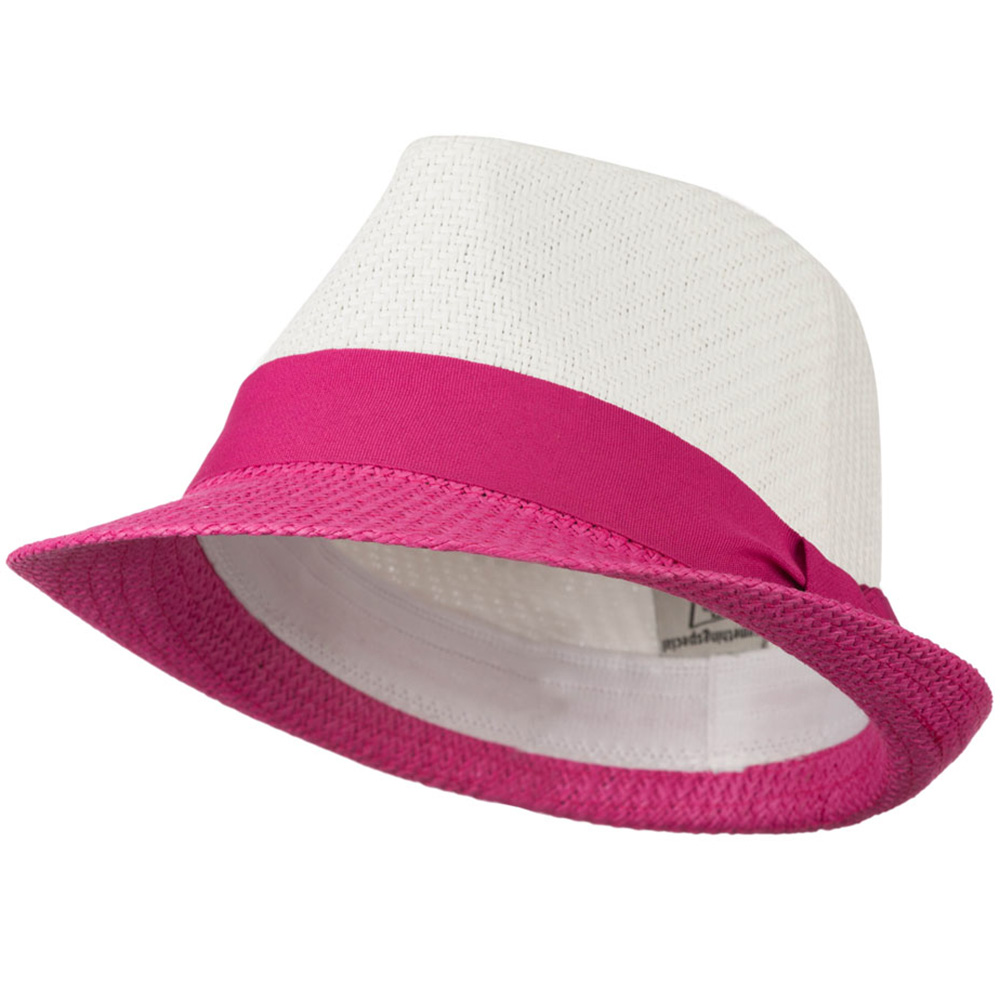 Two Tone Fedora Hat - White Fuchsia - Hats and Caps Online Shop - Hip Head Gear