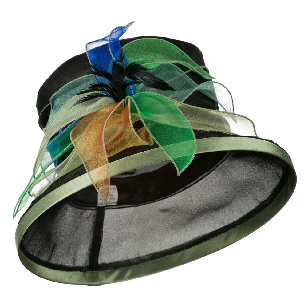 Multi Color Flower Accent Green Trim Organza Hat - Black Multi - Hats and Caps Online Shop - Hip Head Gear