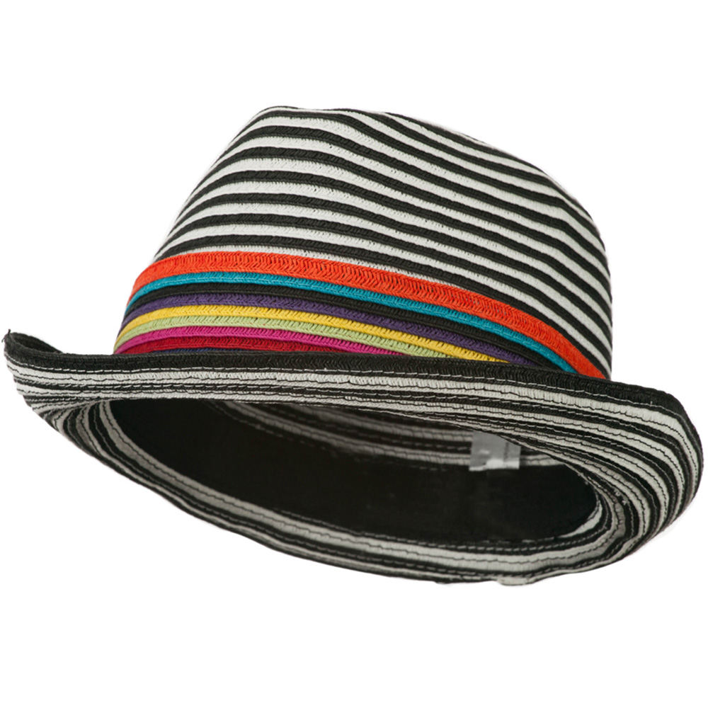 Women's Striped Design Fedora Hat with Multi-Color Band - Black White - Hats and Caps Online Shop - Hip Head Gear