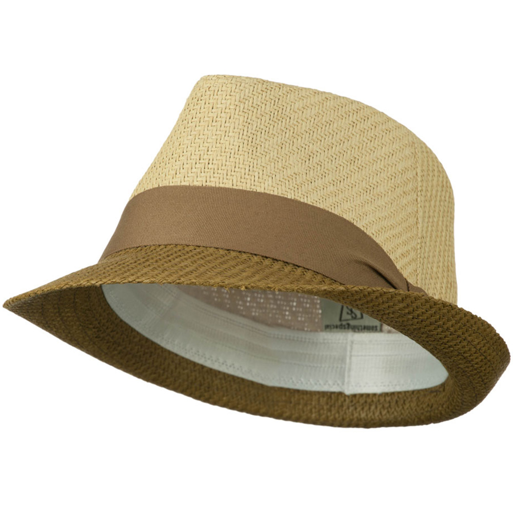 Two Tone Fedora Hat - Natural Brown - Hats and Caps Online Shop - Hip Head Gear