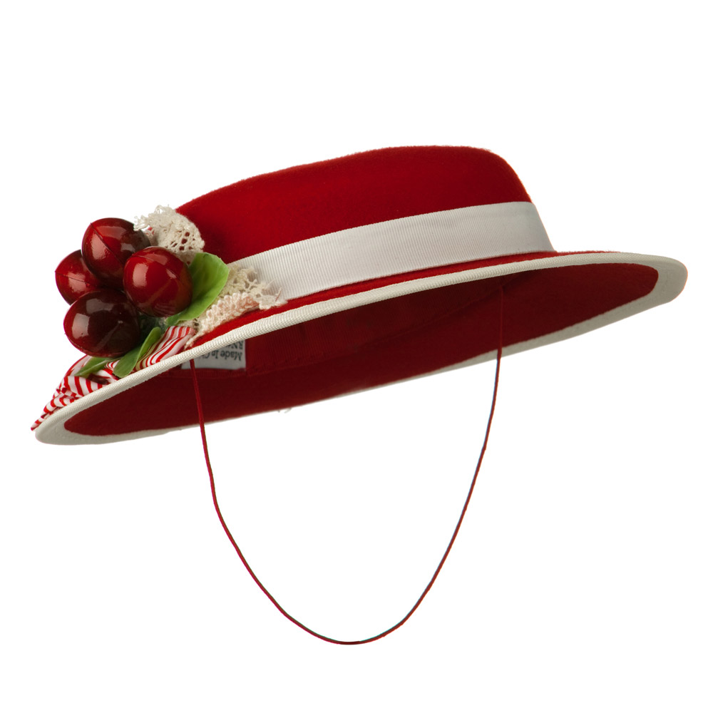 Mini Felt Hat with Cherry Accent - Red - Hats and Caps Online Shop - Hip Head Gear
