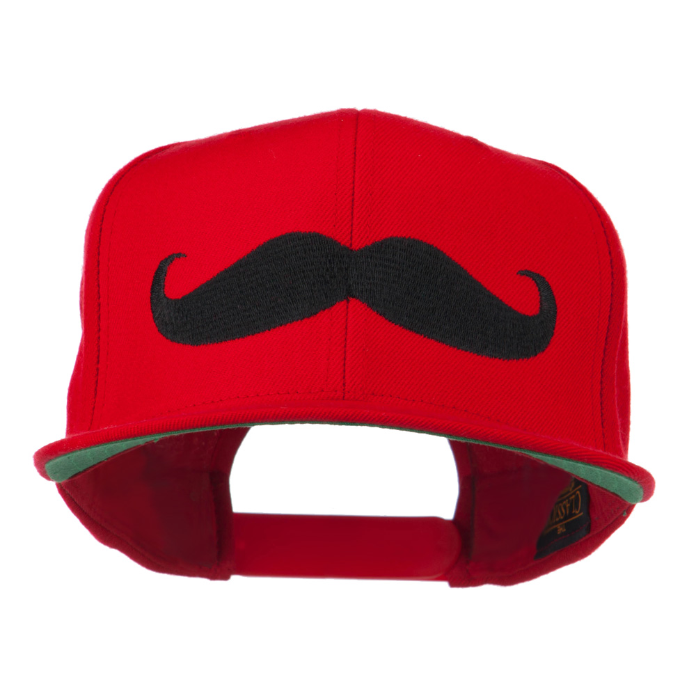 Flat Bill Mustache Embroidered Cap - Red - Hats and Caps Online Shop - Hip Head Gear