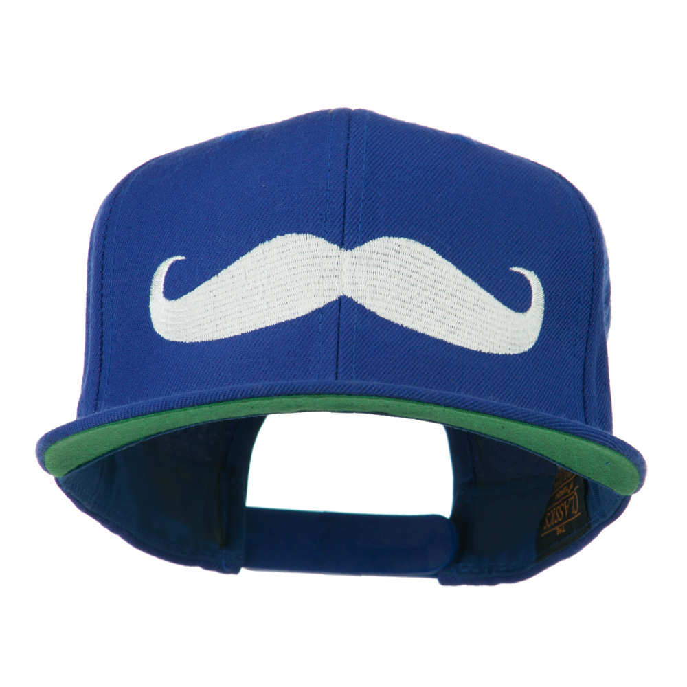 Flat Bill Mustache Embroidered Cap - Royal - Hats and Caps Online Shop - Hip Head Gear