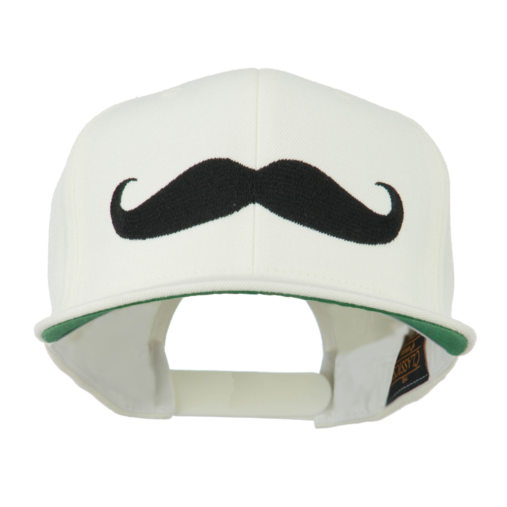 Flat Bill Mustache Embroidered Cap - White - Hats and Caps Online Shop - Hip Head Gear