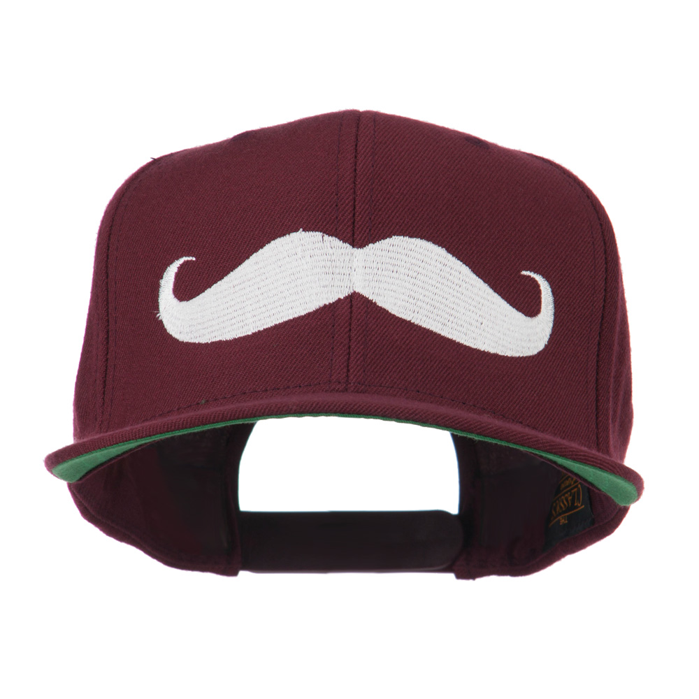 Flat Bill Mustache Embroidered Cap - Maroon - Hats and Caps Online Shop - Hip Head Gear