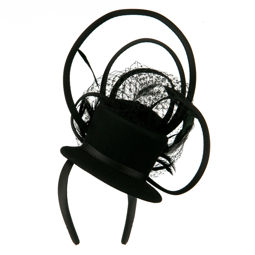 Mini Top Hat Feather Fascinator Headband - Black - Hats and Caps Online Shop - Hip Head Gear