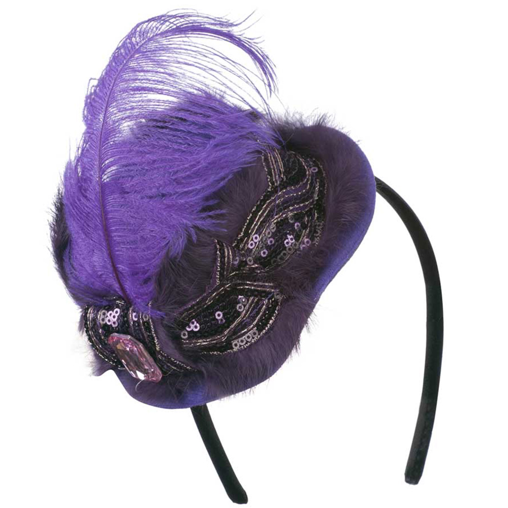 Mini Hat Feather Accent on Headband - Purple - Hats and Caps Online Shop - Hip Head Gear