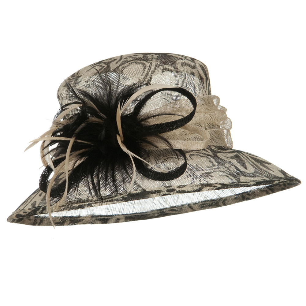 Med Print Floral Print Sinamay Hat - Black White - Hats and Caps Online Shop - Hip Head Gear