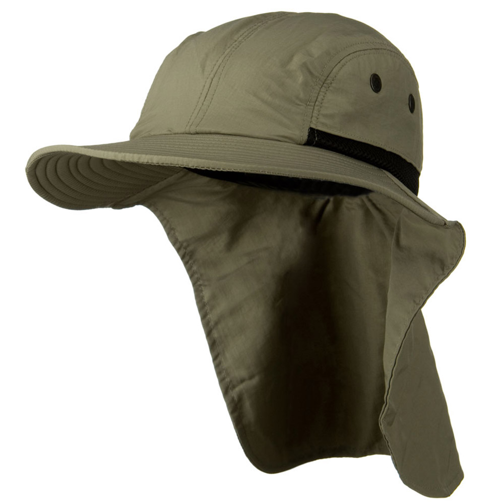Mesh Sun Protection Flap Hat - Olive - Hats and Caps Online Shop - Hip Head Gear