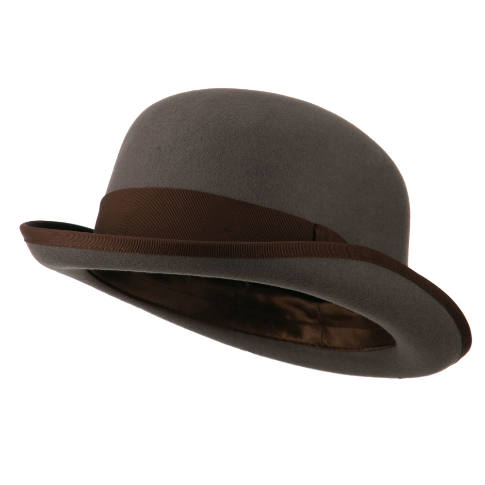 Men's Felt Bowler Hat with Ribbon Trim - Grey Chocolate - Hats and Caps Online Shop - Hip Head Gear