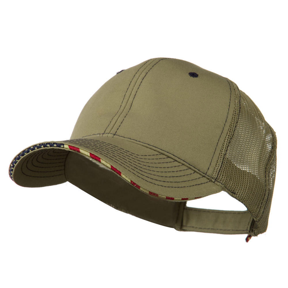 6 Panel Mesh Flag Mesh Cap - Khaki - Hats and Caps Online Shop - Hip Head Gear