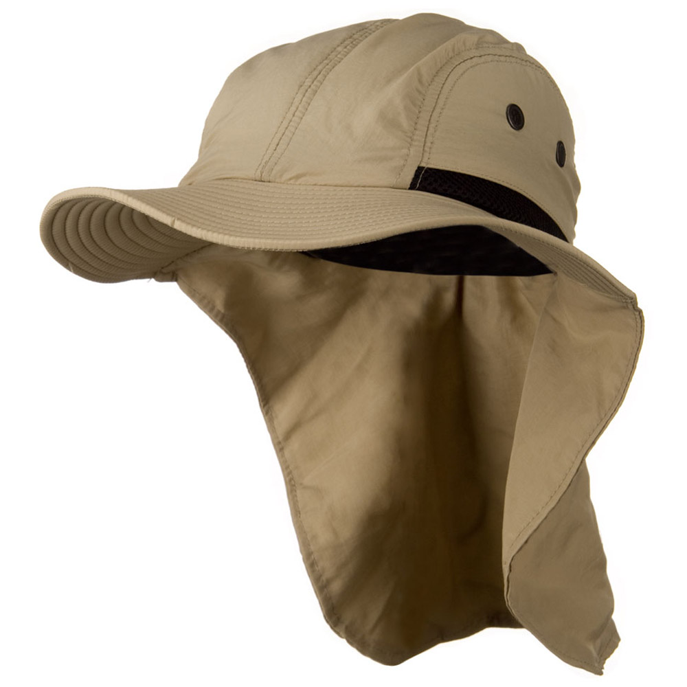 Mesh Sun Protection Flap Hat - Khaki - Hats and Caps Online Shop - Hip Head Gear