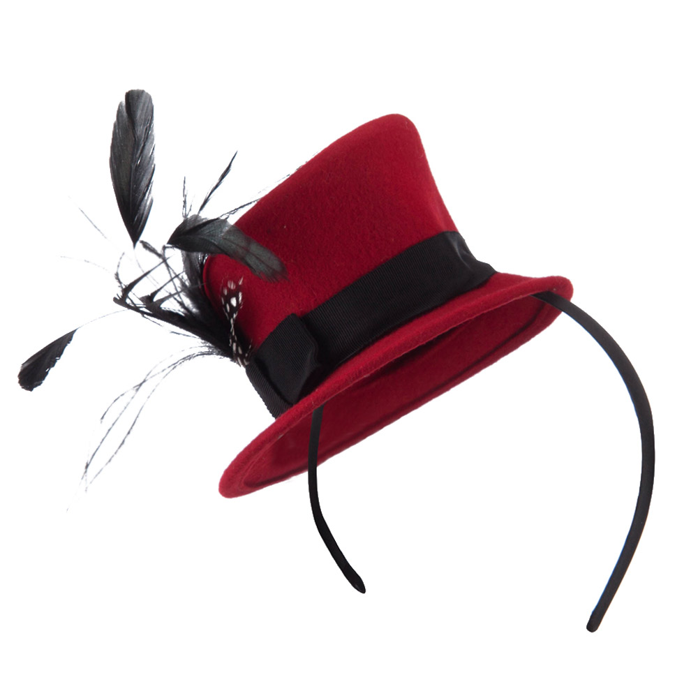 Mini Top Hat Feather Fascinator Headband with Black Band - Red - Hats and Caps Online Shop - Hip Head Gear