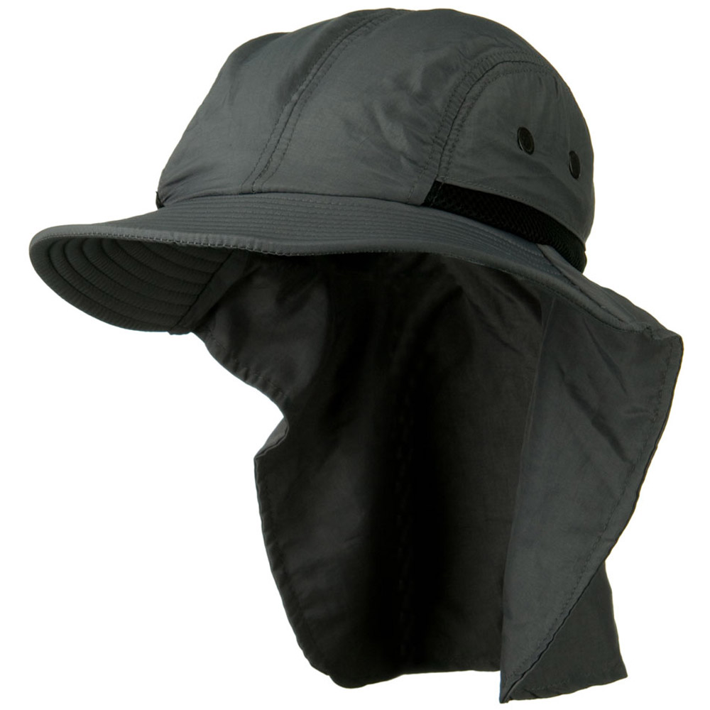 Mesh Sun Protection Flap Hat - Grey - Hats and Caps Online Shop - Hip Head Gear