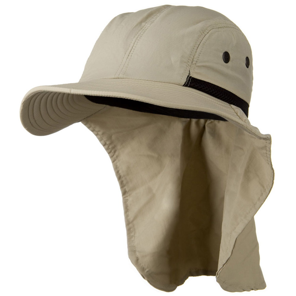 Mesh Sun Protection Flap Hat - Sand - Hats and Caps Online Shop - Hip Head Gear