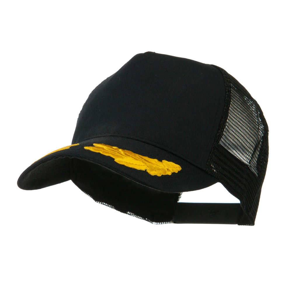 5 Panel Mesh Back Gold Oak Leaves Patch Cap - Black - Hats and Caps Online Shop - Hip Head Gear