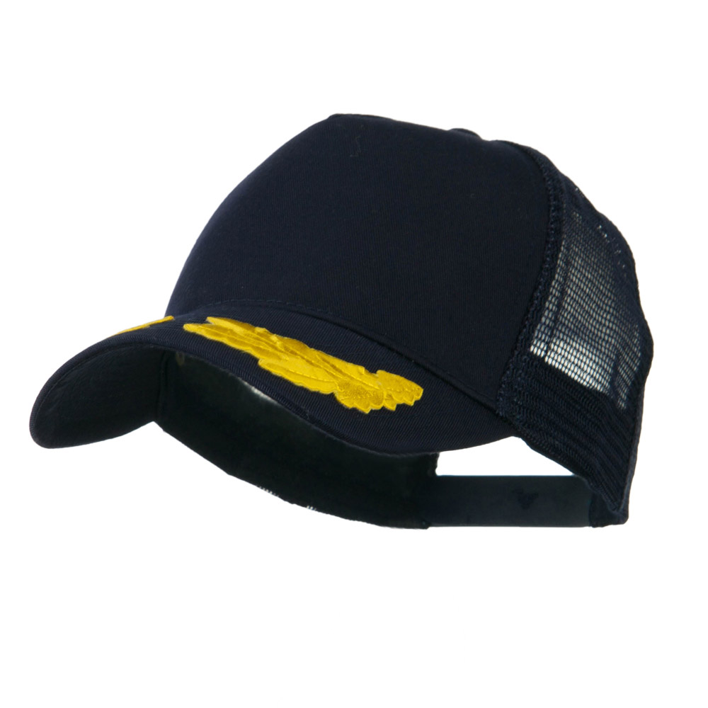 5 Panel Mesh Back Gold Oak Leaves Patch Cap - Navy - Hats and Caps Online Shop - Hip Head Gear