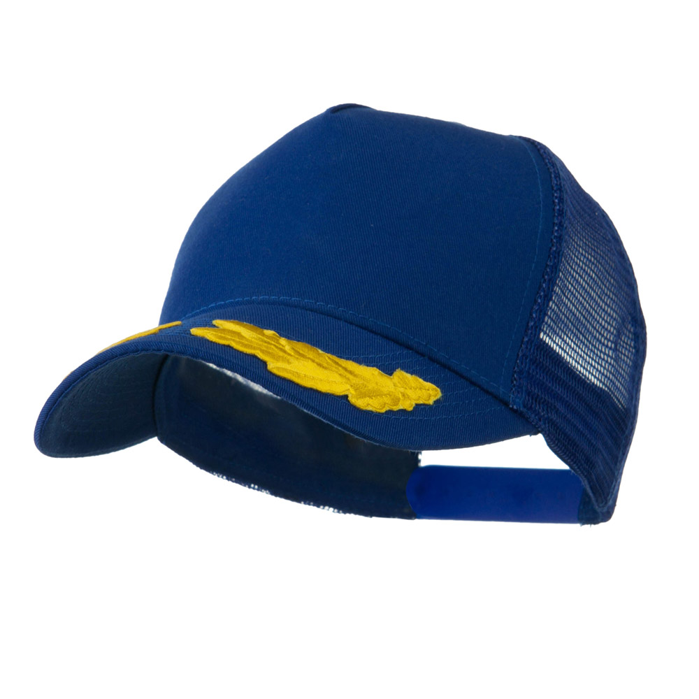 5 Panel Mesh Back Gold Oak Leaves Patch Cap - Royal - Hats and Caps Online Shop - Hip Head Gear