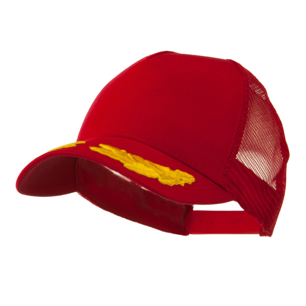 5 Panel Mesh Back Gold Oak Leaves Patch Cap - Red - Hats and Caps Online Shop - Hip Head Gear