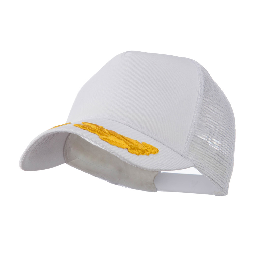 5 Panel Mesh Back Gold Oak Leaves Patch Cap - White - Hats and Caps Online Shop - Hip Head Gear