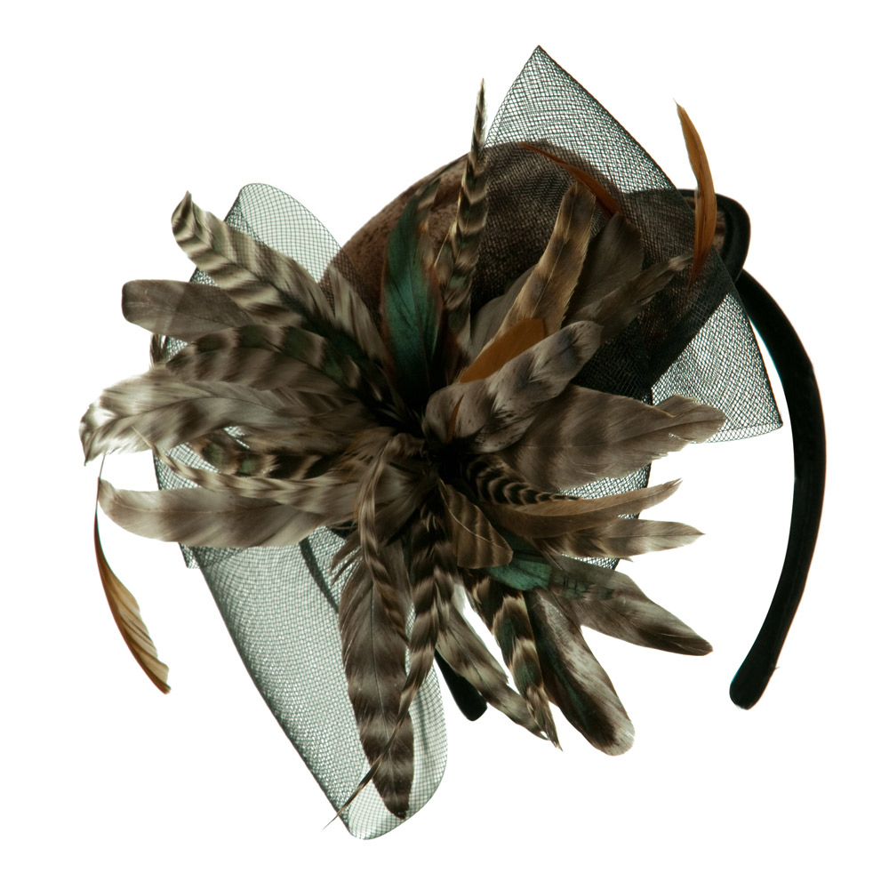 Mini Boater Hat Feather Fascinator Headband - Brown Zebra
