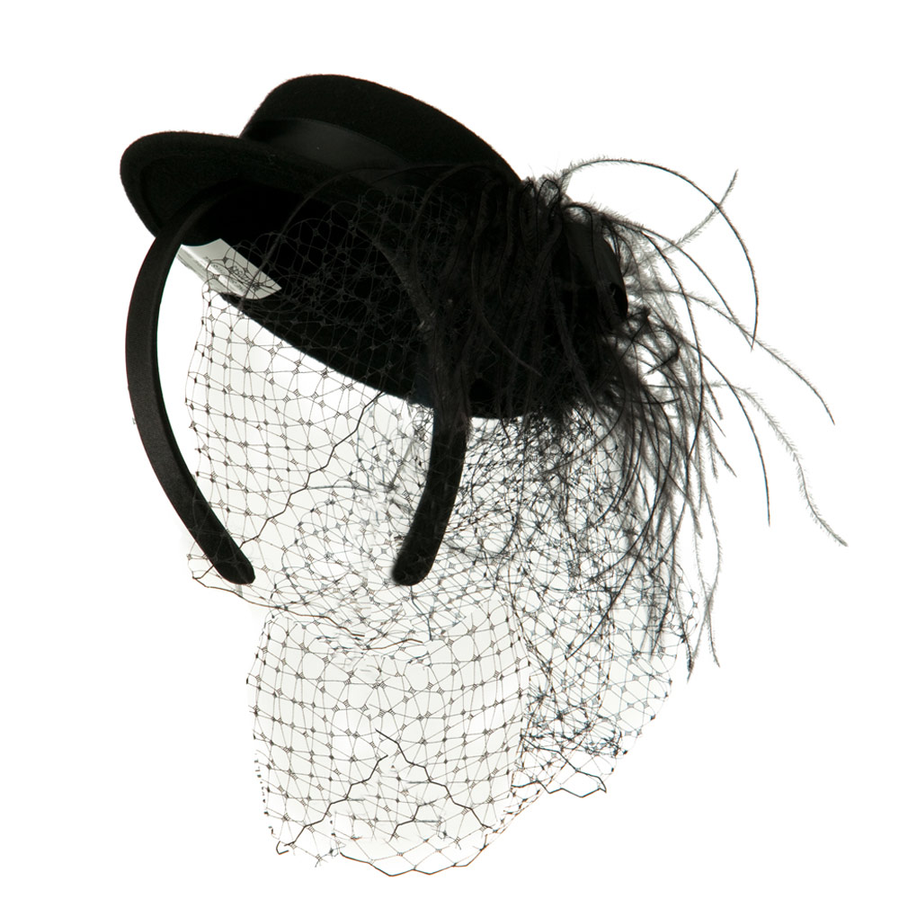 Mini Boater Hat Feather Fascinator Headband - Black - Hats and Caps Online Shop - Hip Head Gear
