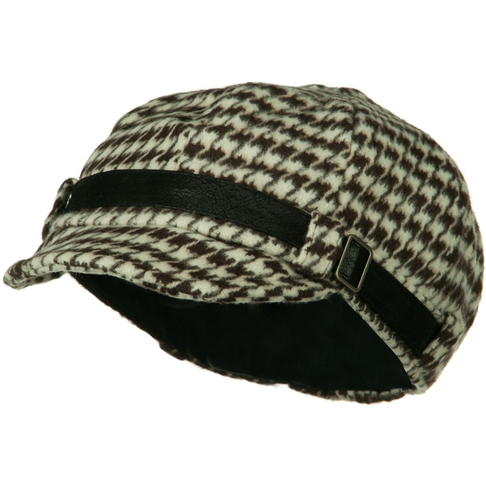 Ladies Mini Houndstooth Cabby Cap - Brown White