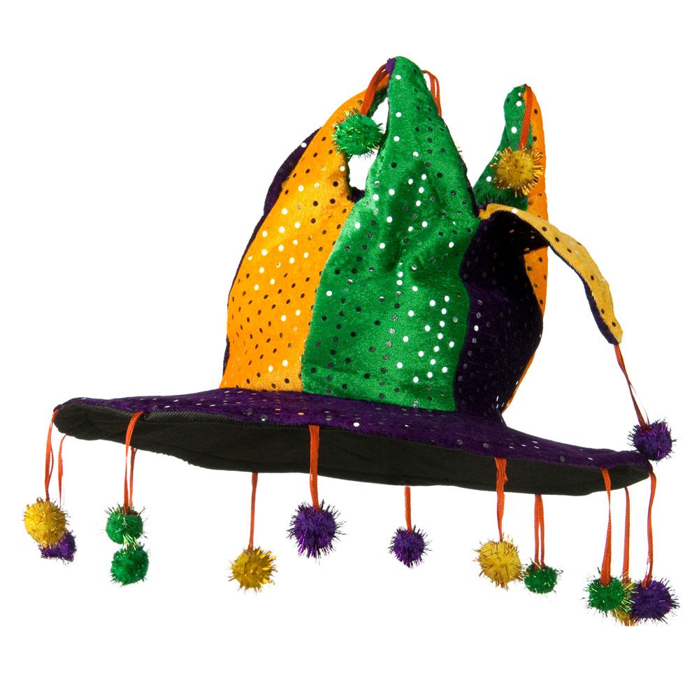 Multi Color Sequined Jester Hat - Purple - Hats and Caps Online Shop - Hip Head Gear