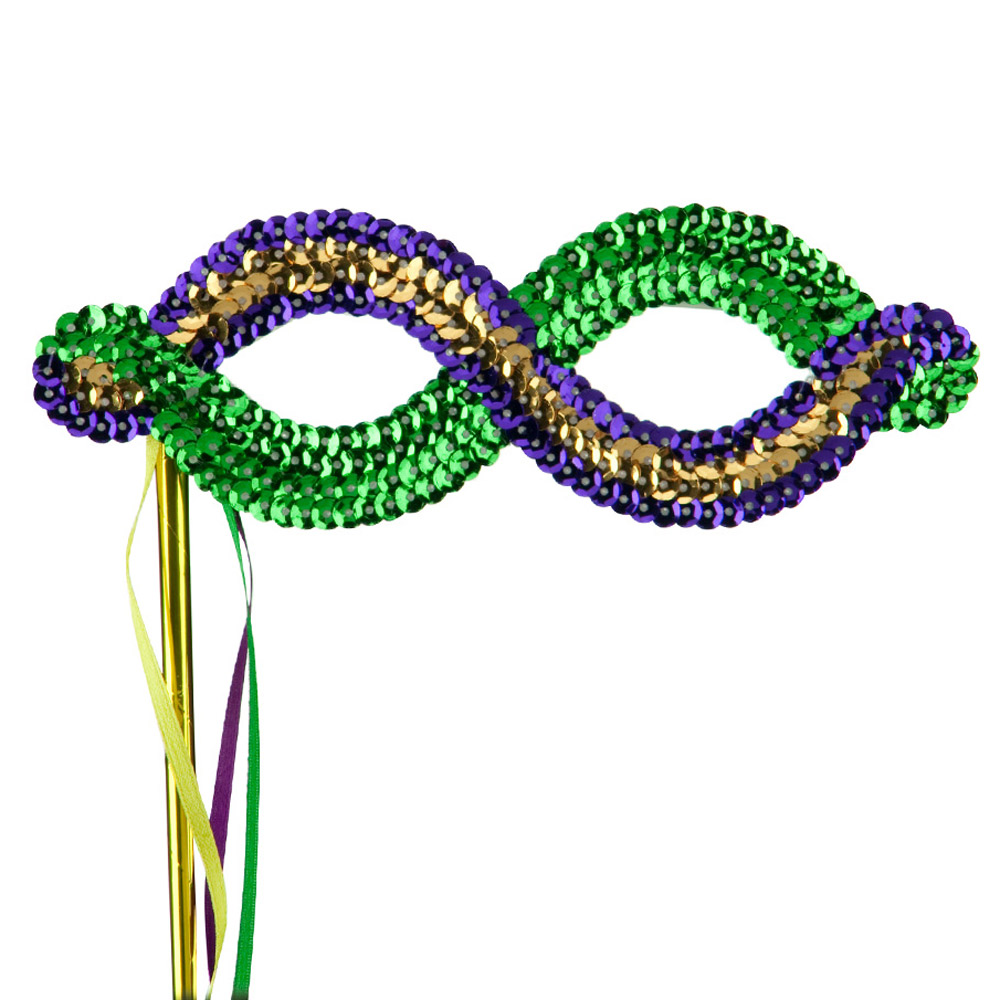 Mardi Gras Sequin Eye Mask - Green Yellow Purple - Hats and Caps Online Shop - Hip Head Gear