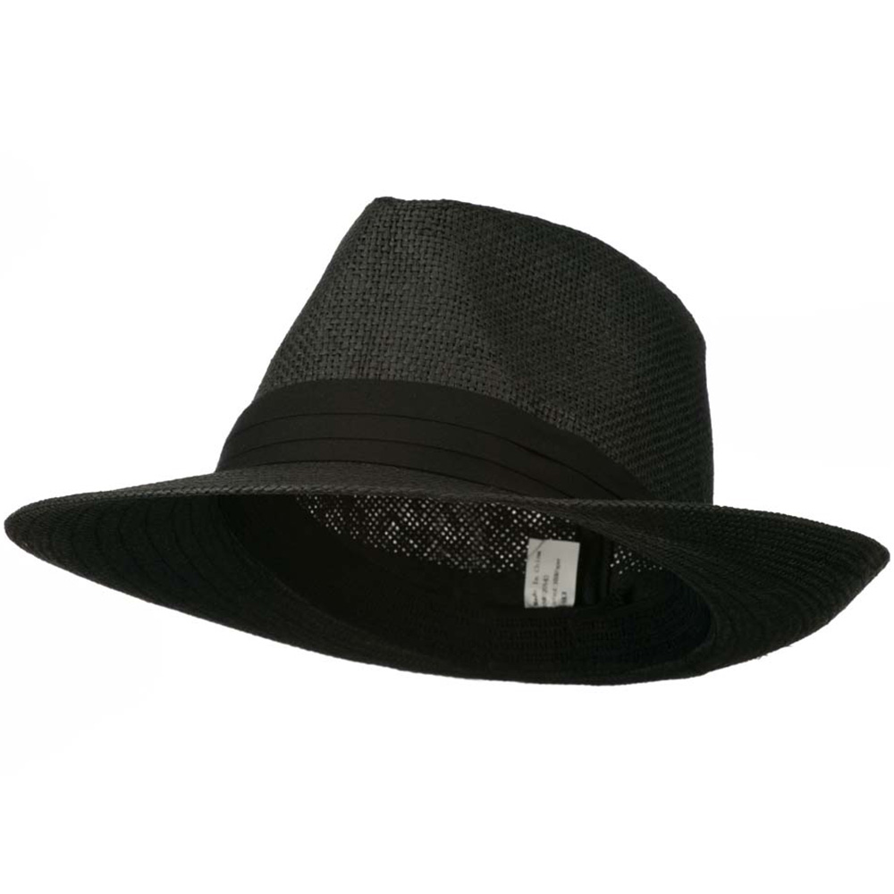 Men's Large Brim Fedora Hat - Black - Hats and Caps Online Shop - Hip Head Gear